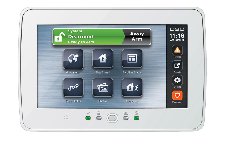 Imagen de la interfaz de seguridad con pantalla táctil PTK5507 de la marca DSC